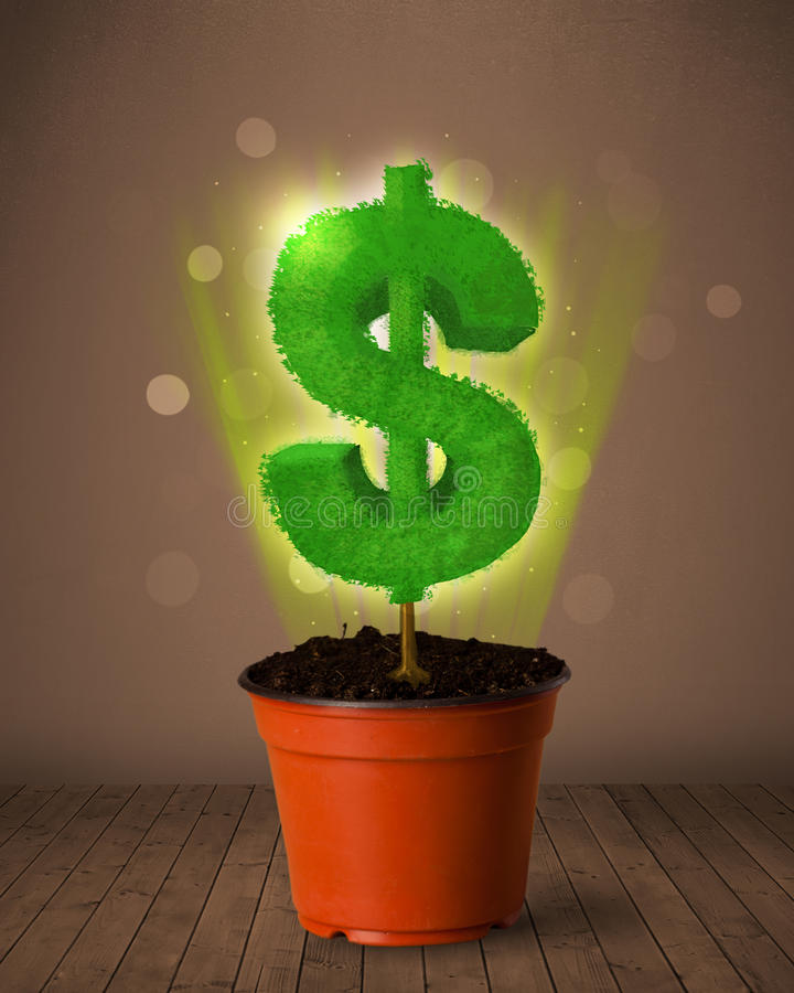 Dollar sign tree coming out of flowerpot. Shining dollar sign tree coming out of flowerpot stock image