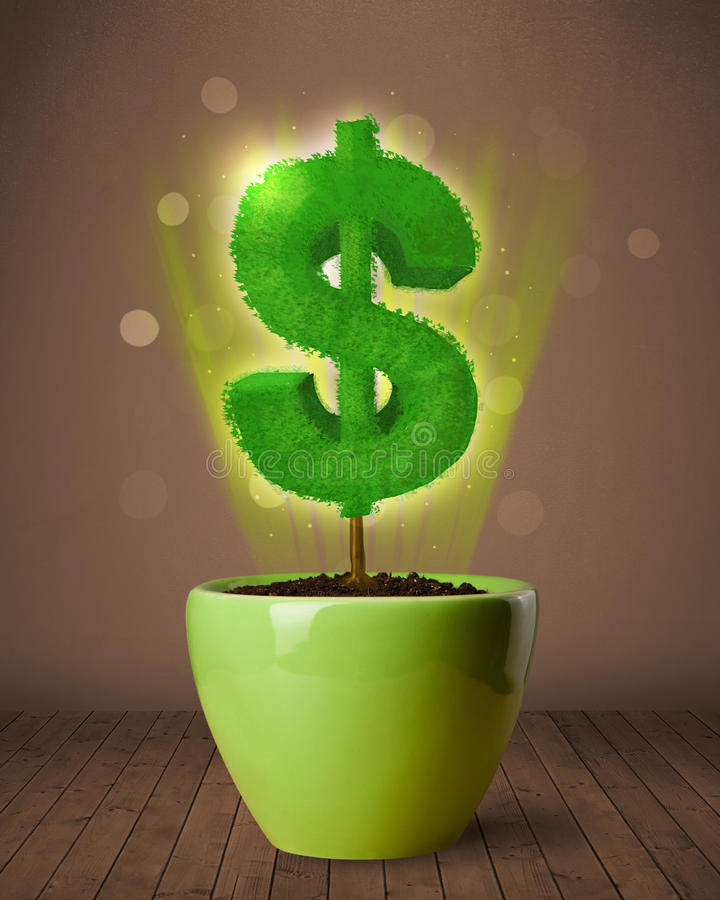 Dollar sign tree coming out of flowerpot. Shining dollar sign tree coming out of flowerpot stock images