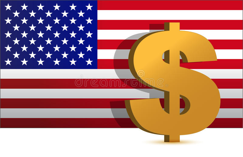 Dollar Sign On Us Flag Background - Illustration Royalty Free Stock Image