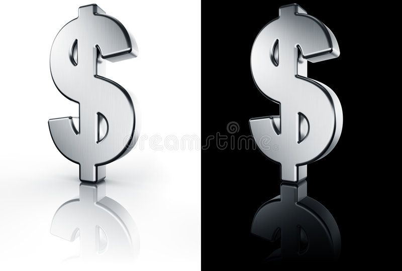 Download Dollar Sign On White And Black Reflective Floor Stock Illustration - Image: 6335076