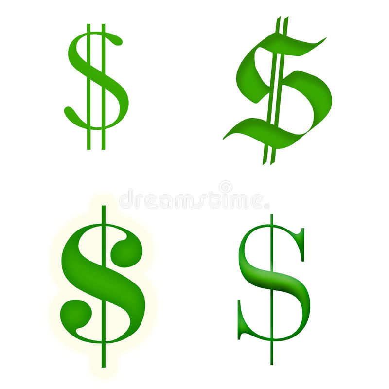 Download Dollar Signs Isolated On White. Royalty Free Stock Photos - Image: 26313858