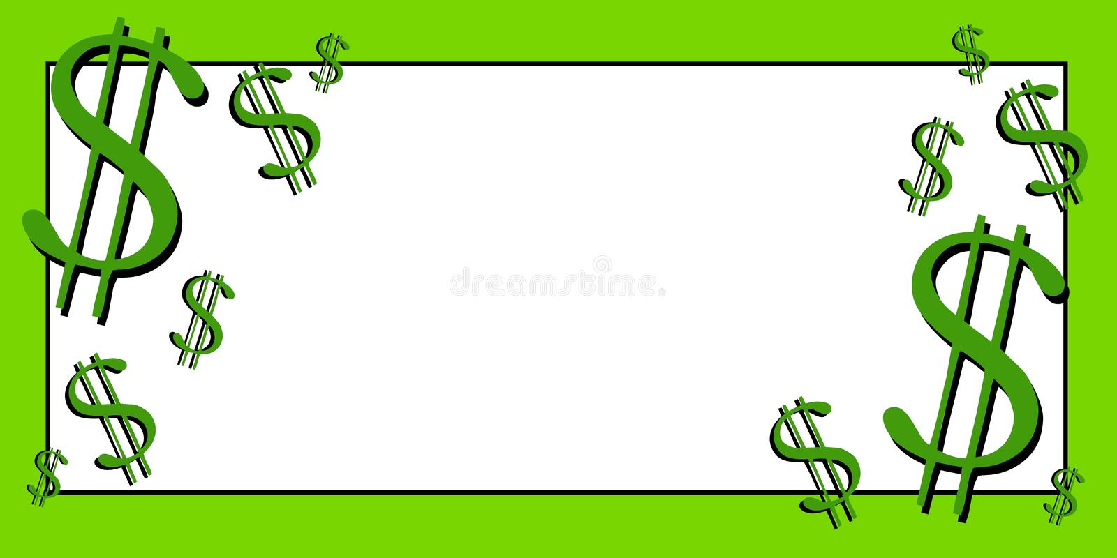 Dollar Signs Money Clip Art 3. A clip art illustration of a banner featuring dollar signs in green with ample white space for your own text