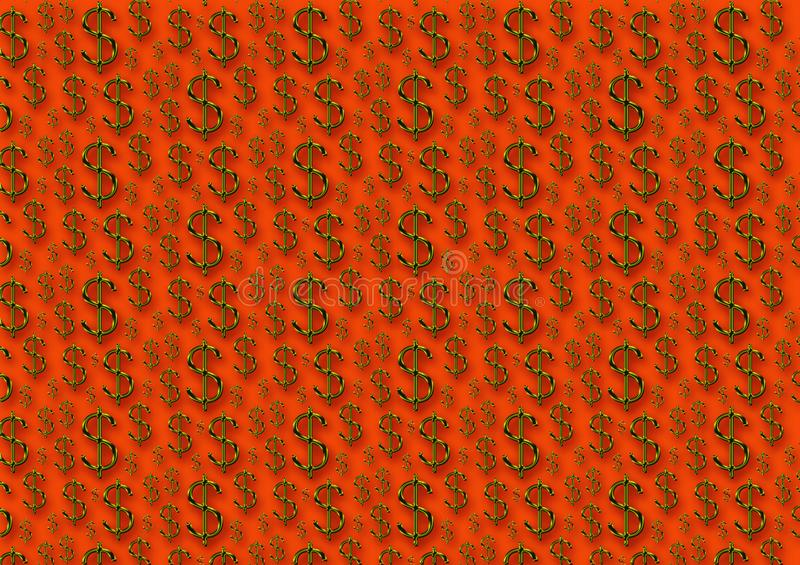 Dollar signs pattern in gold and an orange background. For use as a wallpaper image or with designs royalty free stock images