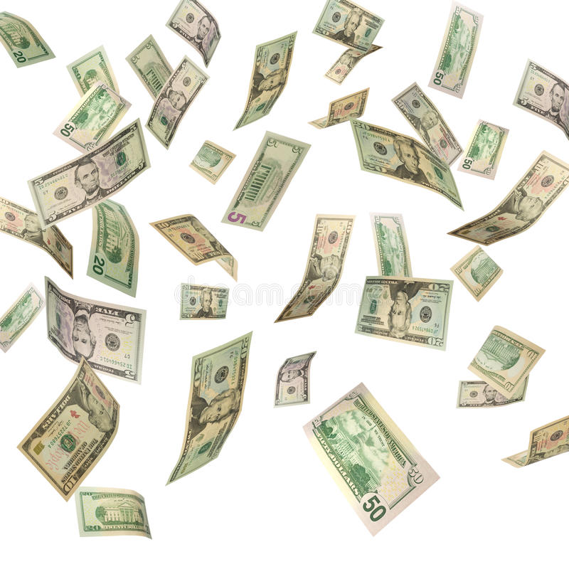 dollar som faller oss stock illustrationer