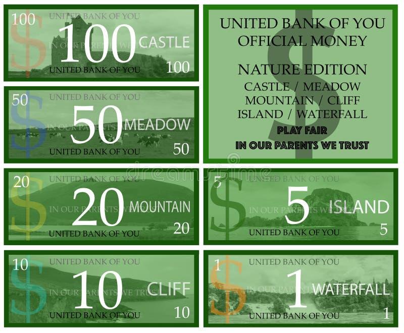 Dollar Spielgeld lizenzfreie abbildung