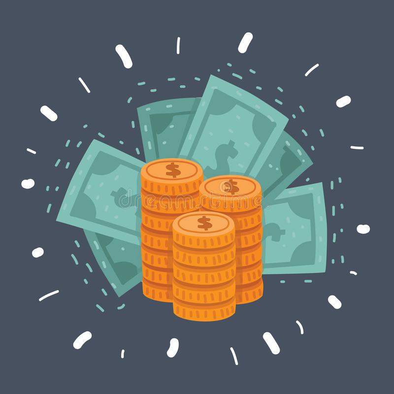 Dollar stack pack icon. vector illustration