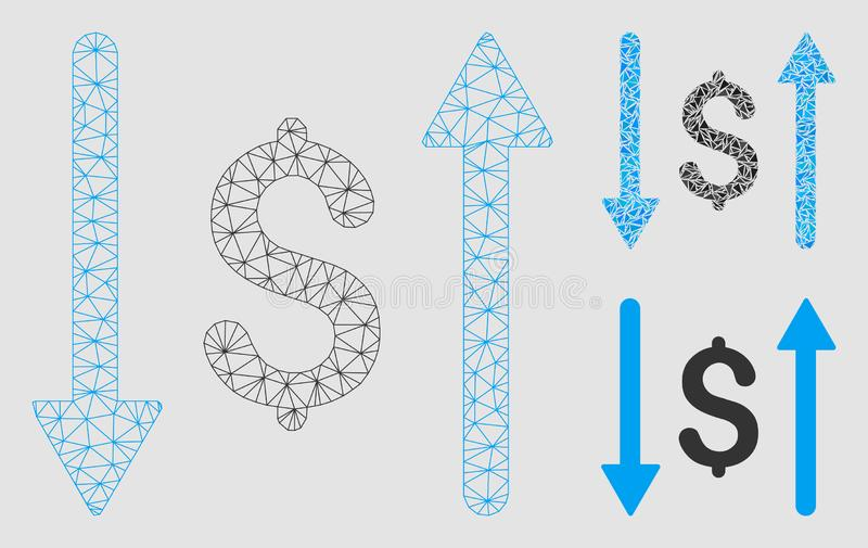 Dollar Swap Vector Mesh 2D Model and Triangle Mosaic Icon. Mesh dollar swap model with triangle mosaic icon. Wire carcass triangular mesh of dollar swap. Vector vector illustration