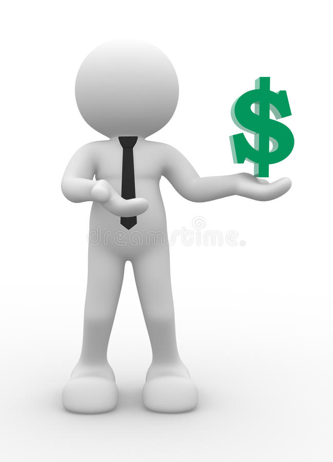 Dollar symbol. 3d people - man, person with dollar symbol vector illustration