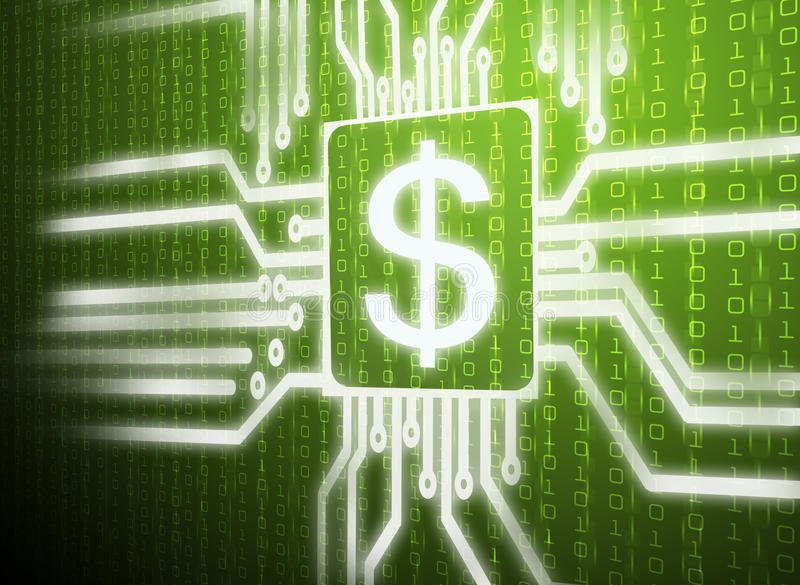 Dollar symbol. Circuit dollar symbol on central processor unit with green screen background royalty free stock images