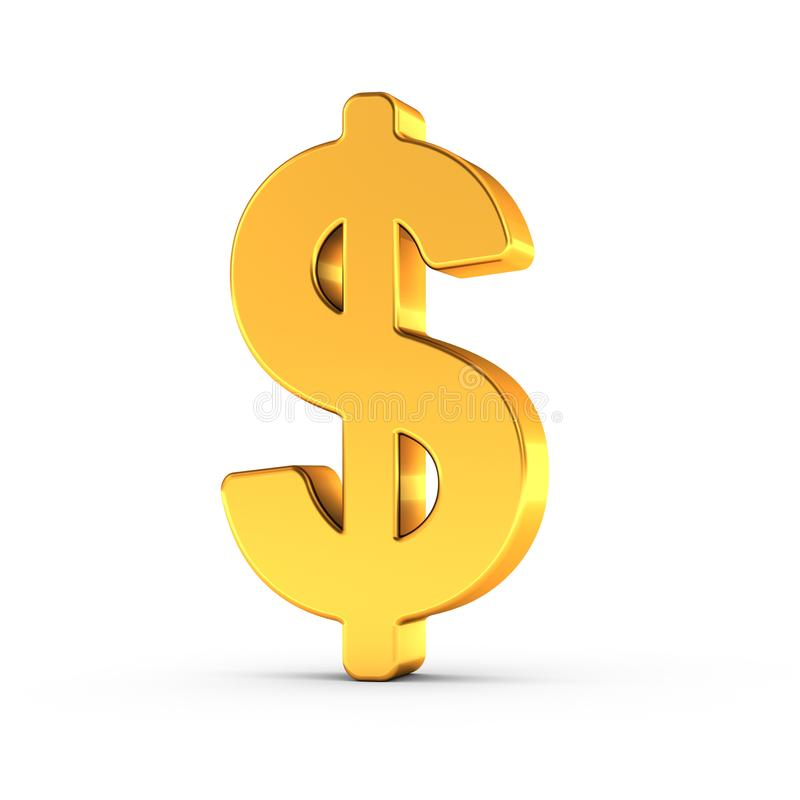 The Dollar symbol as a polished golden object with clipping path royalty free illustration