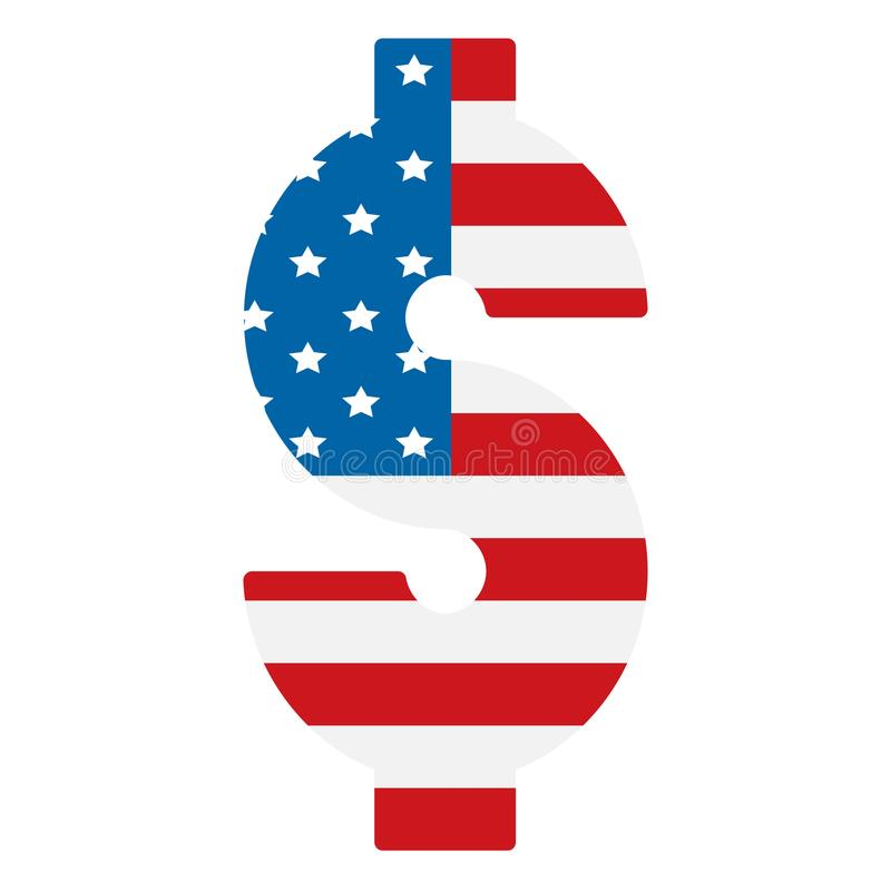 Dollar symbol with USA flag background royalty free stock photo