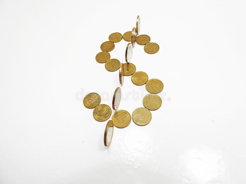 Dollar symbol build from coins stock photo