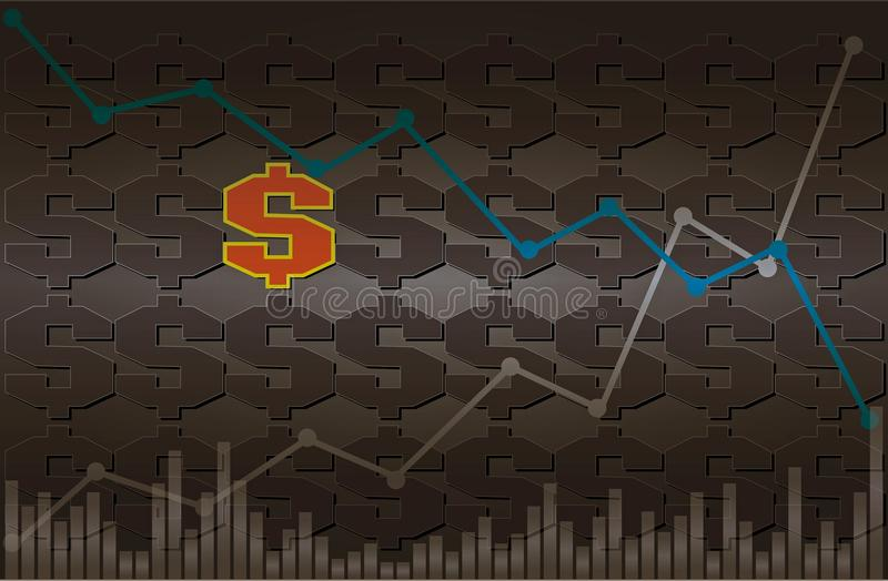 Dollar symbol with descending and ascending line graph with volume on black and gray background stock photography