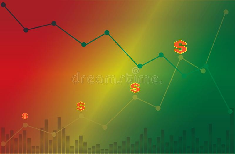 Dollar symbol with descending and ascending line graph with volume on green yellow and red background royalty free stock photo