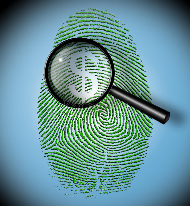 Dollar Symbol in fingerprint inspection stock illustration