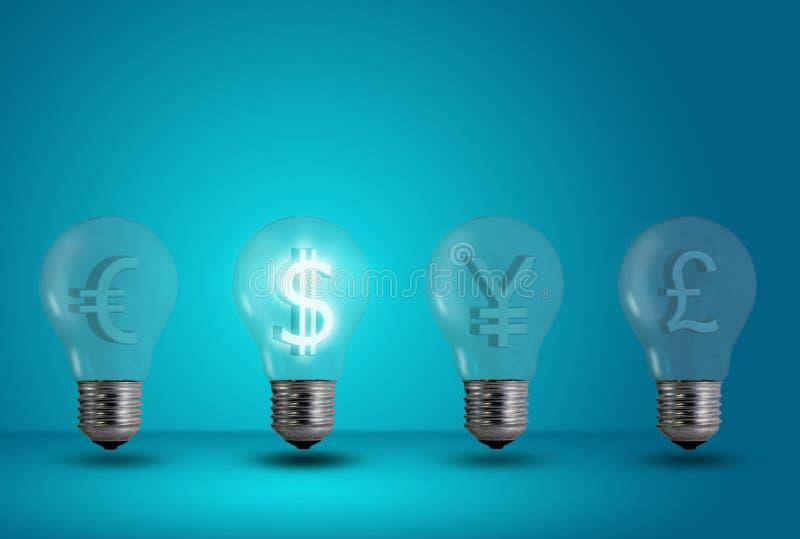 Dollar symbol glow among other light bulb stock images