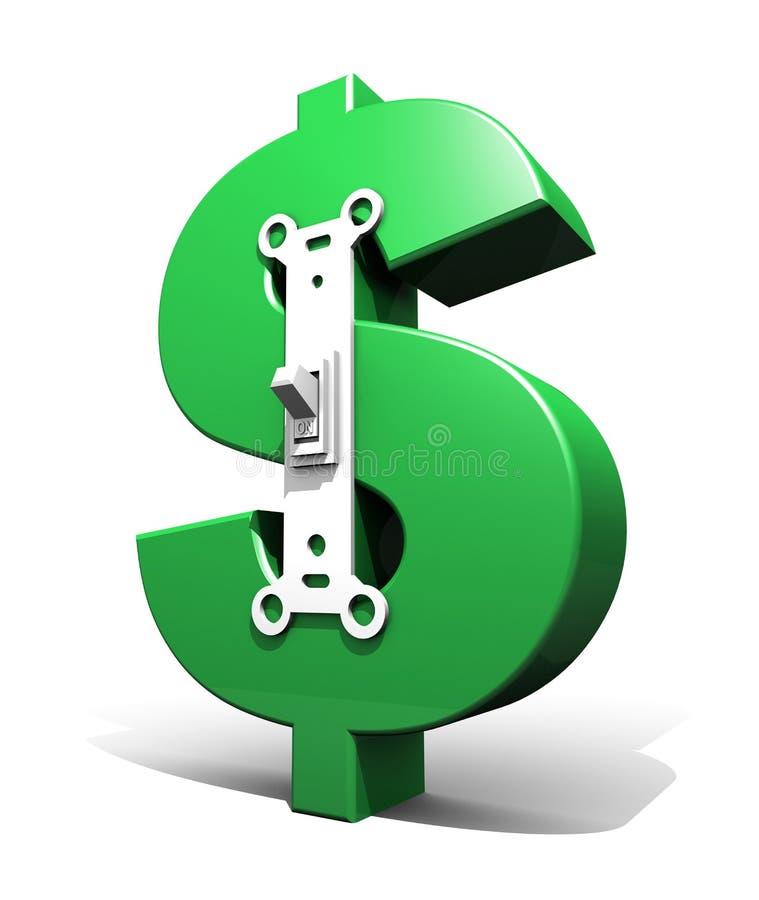 Dollar Symbol Power Switch (Green - On) Royalty Free Stock Photos