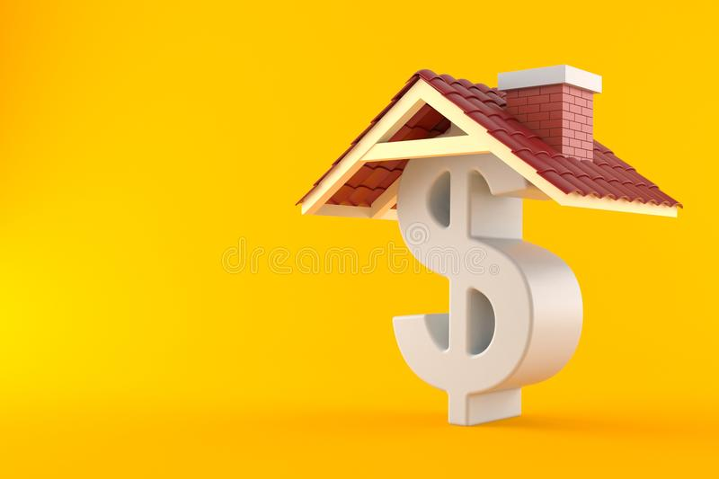 Dollar symbol with roof. Isolated on orange background royalty free illustration