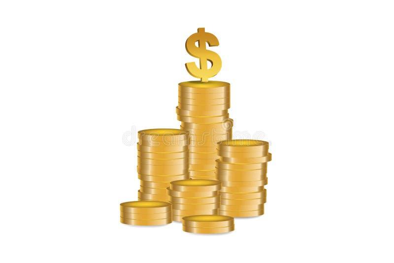 Dollar symbol - illustration. Dollar symbol at the top of Gold coins stack -  illustration stock illustration