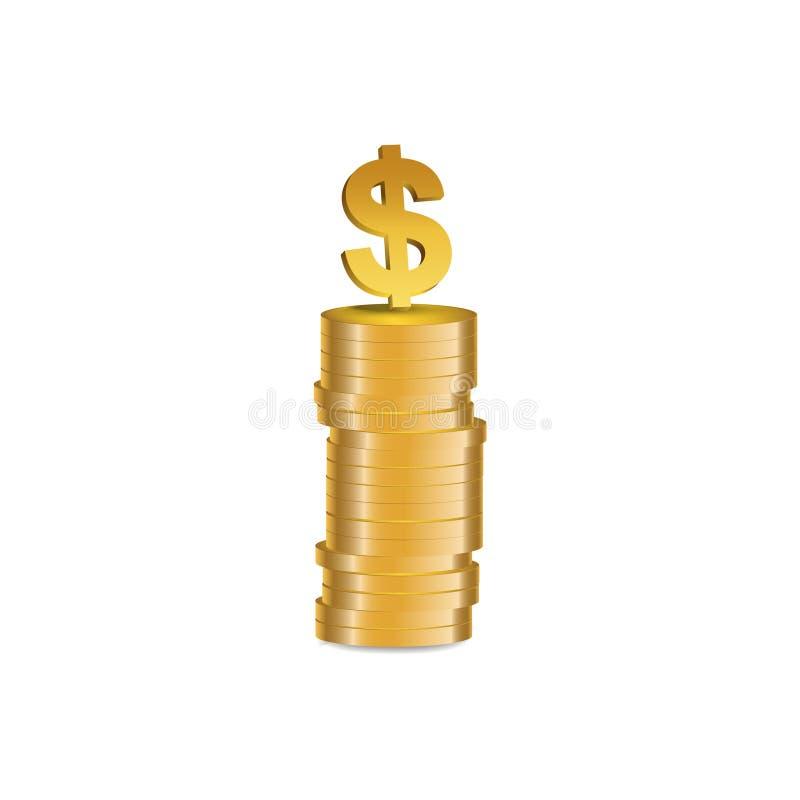 Dollar symbol - illustration. Dollar symbol at the top of Gold coins stack -  illustration royalty free illustration
