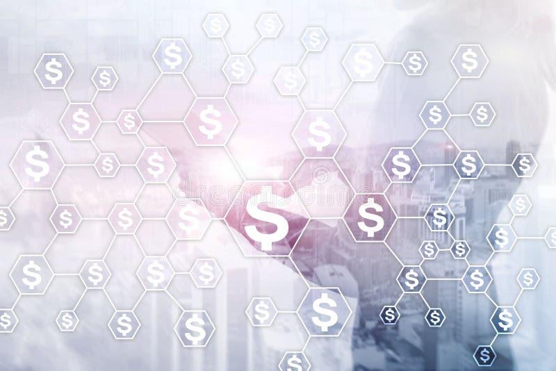 Dollar symboler, pengarnätverksstruktur ICO, handel och investering vektor illustrationer
