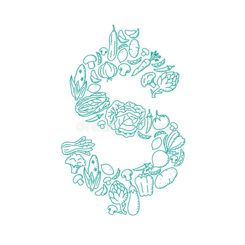 Dollar-Symbolillustration Alphabetgemüsemuster scherzt gesetzte Währung USDs Vereinigte Staaten Handzeichnungs-Konzeptdesign stock abbildung