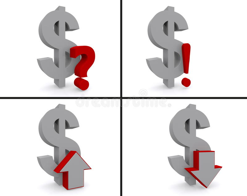 Dollar symbols. A set of dollar symbols with arrows up and down, question mark and an exclamation mark