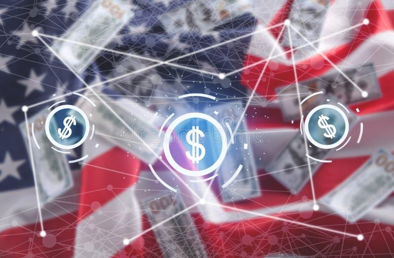 Dollar symbols. USA flag background. Network stock photos