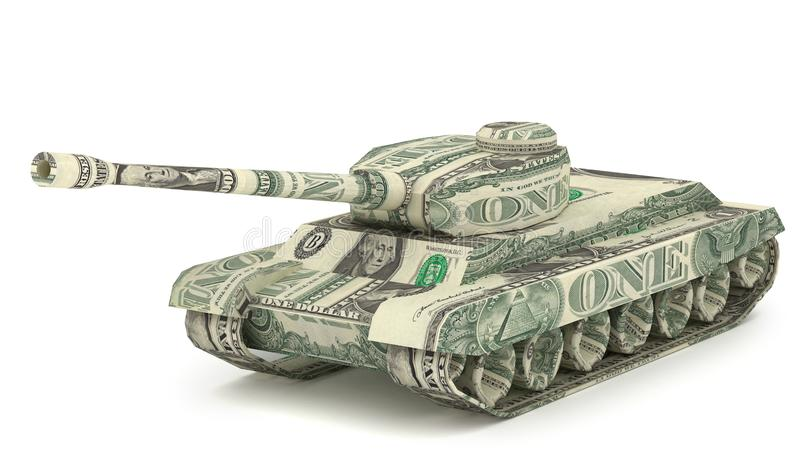 Dollar Tank. Money origami. Tank made from American One dollar vector illustration