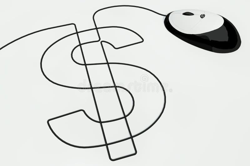 dollar tecknad musteckentråd stock illustrationer