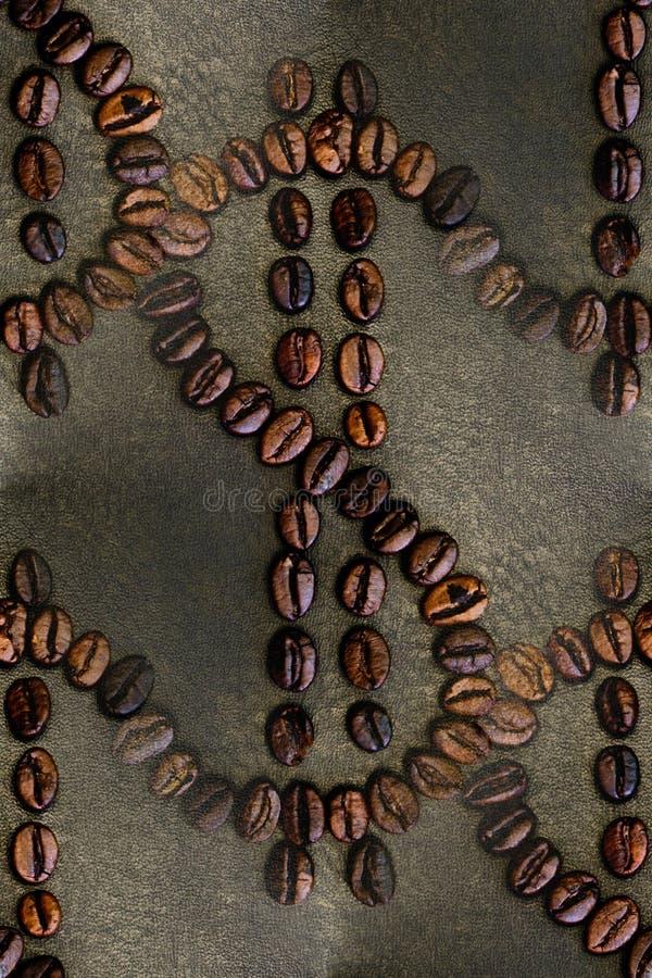 Dollar-teken van koffiebonen, achtergrond, naadloos royalty-vrije stock foto's