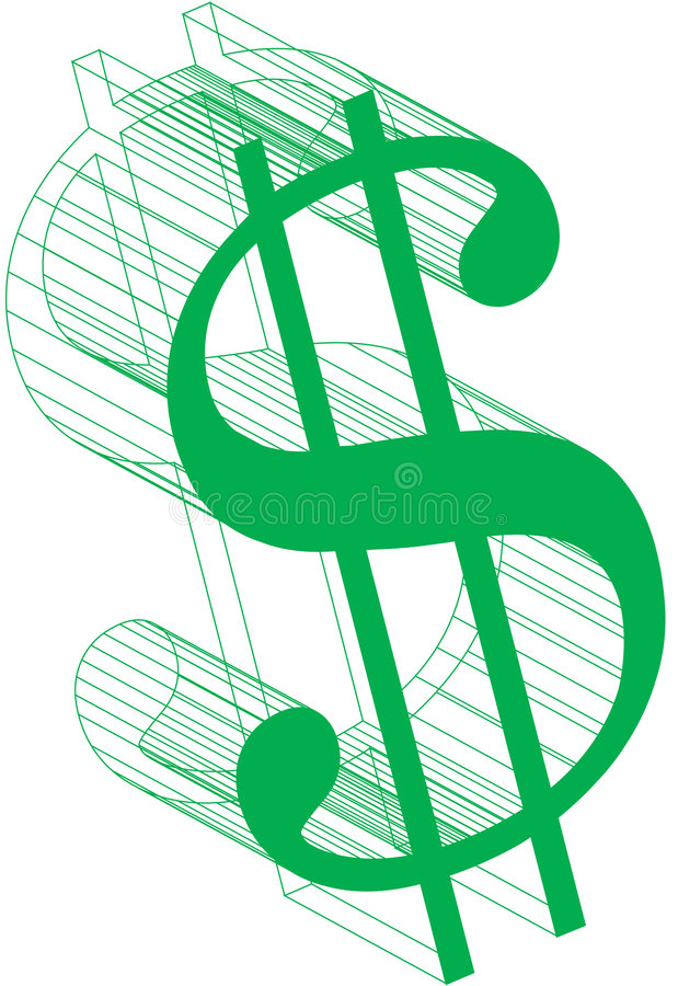 Dollar teken-Wireframe royalty-vrije stock foto