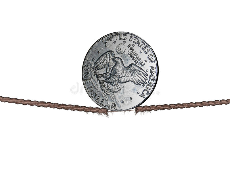 Dollar on the thread. A 1 dollar coin, in balance in the tightrope stock illustration