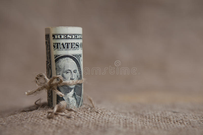 The dollar, tied with a rope. A symbol of financial crisis royalty free stock images