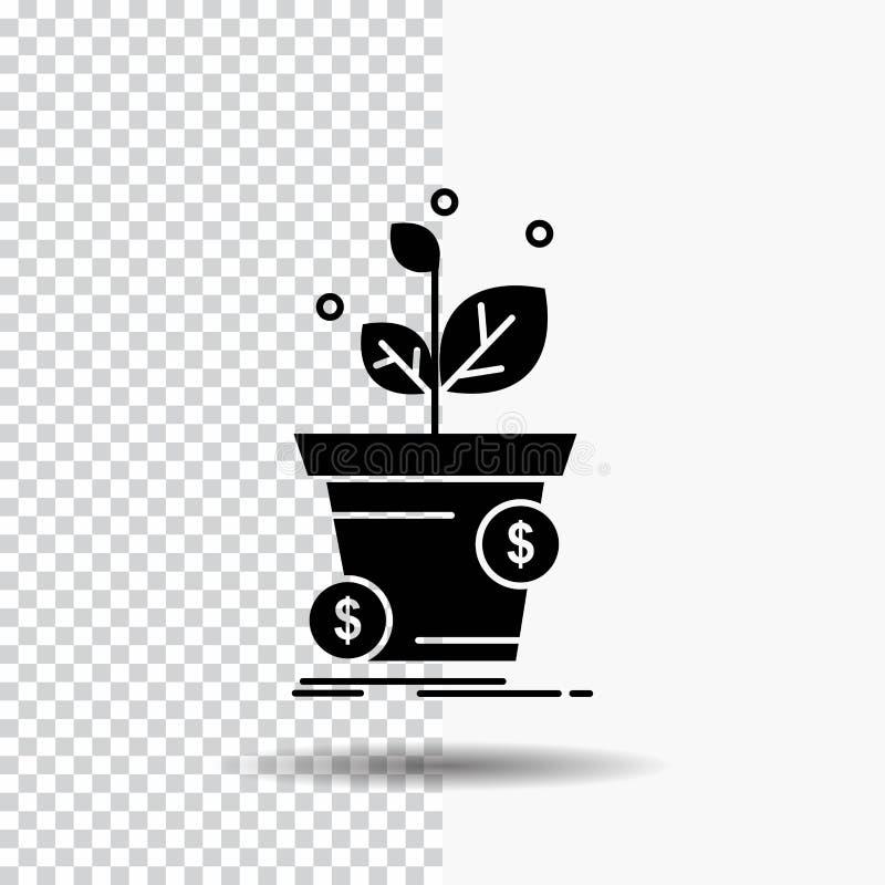 dollar tillväxt, kruka, vinst, affärsskårasymbol på genomskinlig bakgrund Svart symbol royaltyfri illustrationer