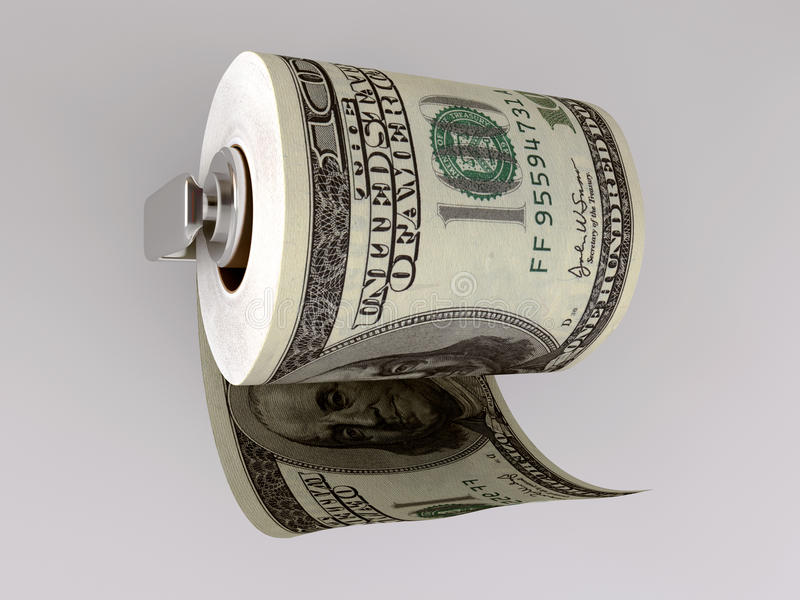 Dollar Toilet Paper Stock Image