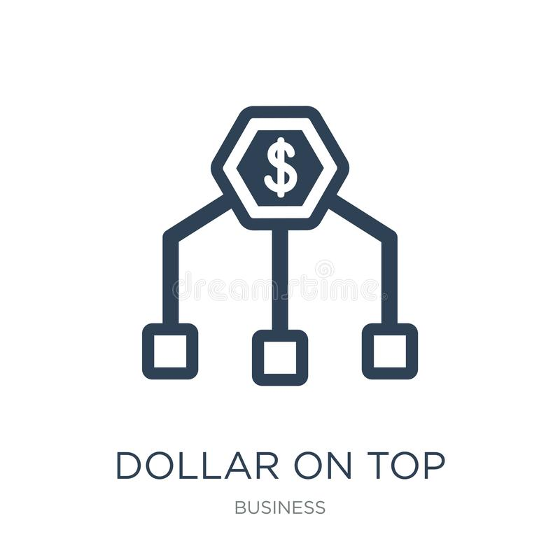 dollar on top of financial hierarchy icon in trendy design style. dollar on top of financial hierarchy icon isolated on white vector illustration