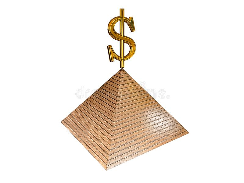 Dollar on the Top of the Pyramid stock image