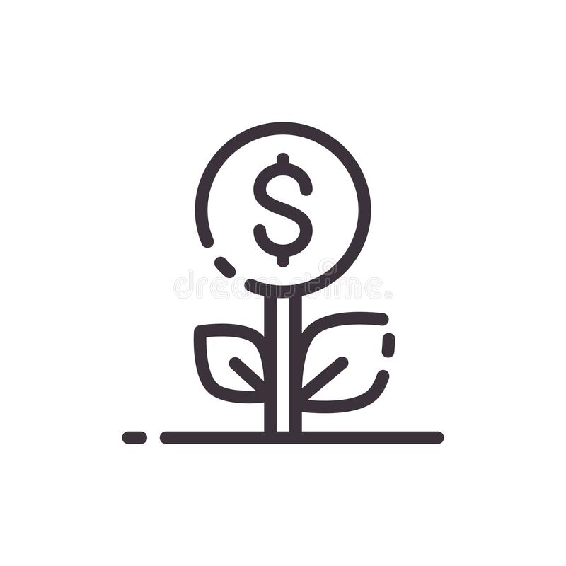 Dollar tree. Growth of money income. Vector liner black icon. stock illustration