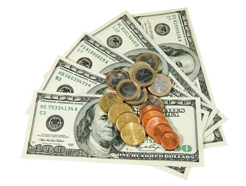 Dollar und Euromünzen stockbild