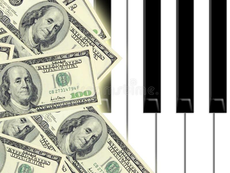 Dollar und Klavier lizenzfreie abbildung