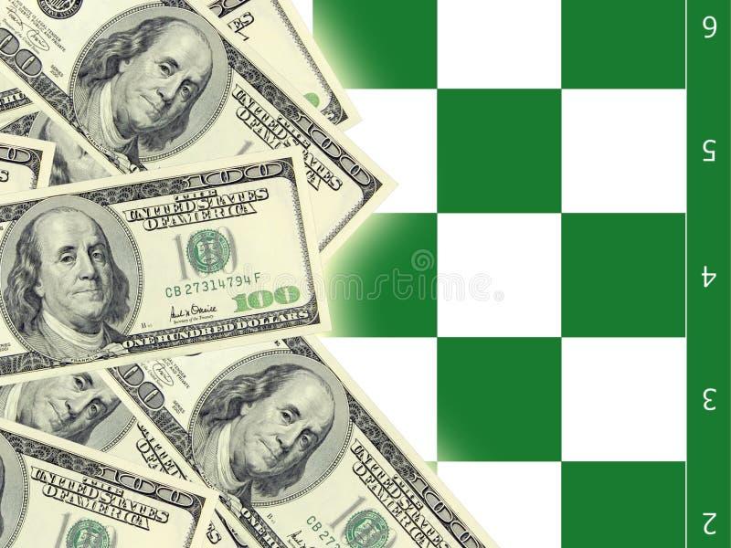 Dollar und Schach stockbilder