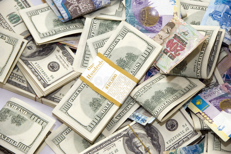 Dollar und Tenge feng shui stockfotografie