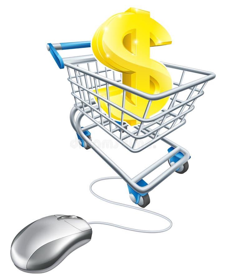 Dollar unterzeichnen herein Warenkorb und Maus lizenzfreie abbildung