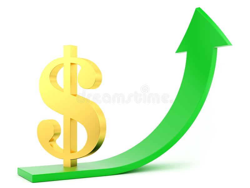 Download Dollar up stock illustration. Illustration of render - 25356988