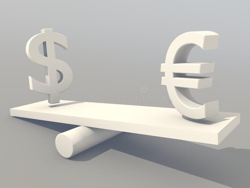 Dollar US contre l'euro image libre de droits