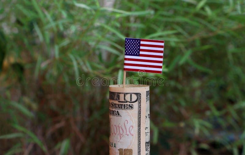 Dollar US et bâton roulé de l'argent dix de billet de banque avec le mini drapeau de l'Amérique sur le fond vert de nature image libre de droits