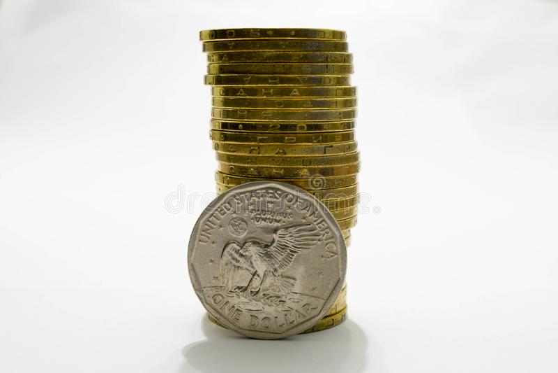 Dollar US et taux de change ukrainien de hryvnia images libres de droits