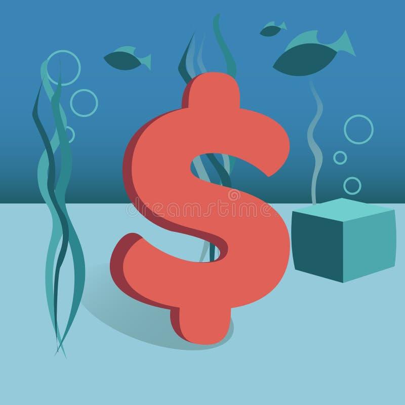 Dollar van de bevorderings de vectorillustratie op vlakke bodemoverzees vector illustratie