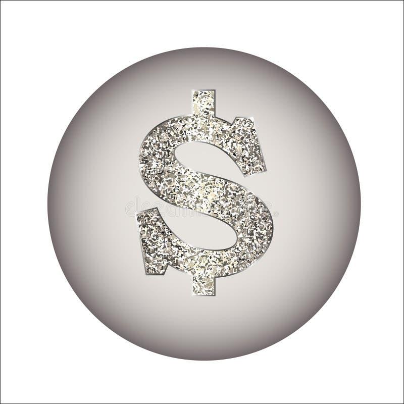 Dollar van zilver of platina wordt gemaakt dat stock illustratie